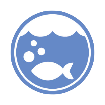 The Ocean Logo: A blue circle with a white fish, and bubbles coming out of its mouth, rising toward the top of the water.