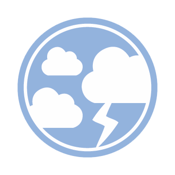 The Atmosphere Logo: A light blue circle with three white clouds and a white bolt of lighting.