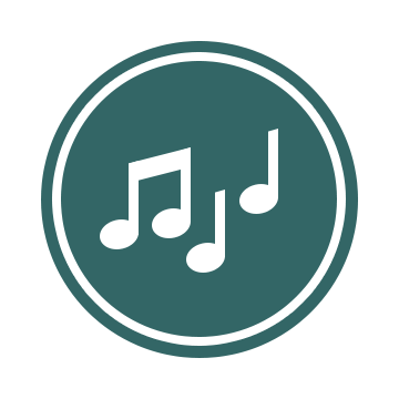 The Music Logo: A blue-green circle with two eighth notes barred together, and two quarter notes, each in white.