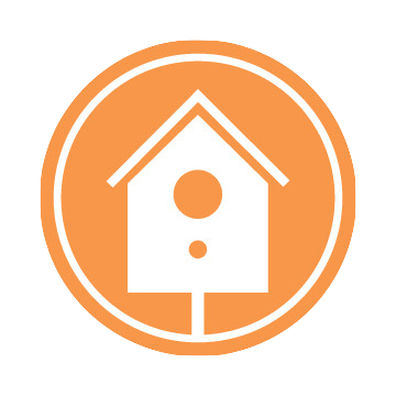 The Backyard Logo: An orange circle with a white birdhouse in the middle.