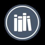 Логотип библиотеки: серо-синий круг с четырьмя белыми книгами в центре.