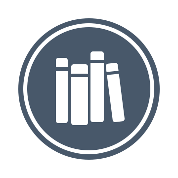 The Library Logo: A gray-blue circle with four white books in the center.