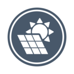 The Solar Lab Logo: A gray-blue circle overlaid by a white solar panel and a white sun.