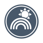 The Blue Sky Studio logo: A gray-blue circle with a white rainbow and a white sun.
