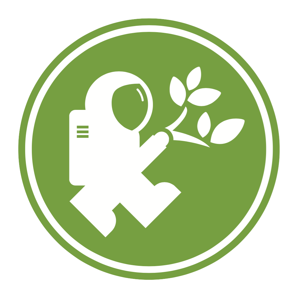 The Eco-Action logo, a green circle featuring the Discovery Explorer astronaut in white, holding a small sprouting plant.