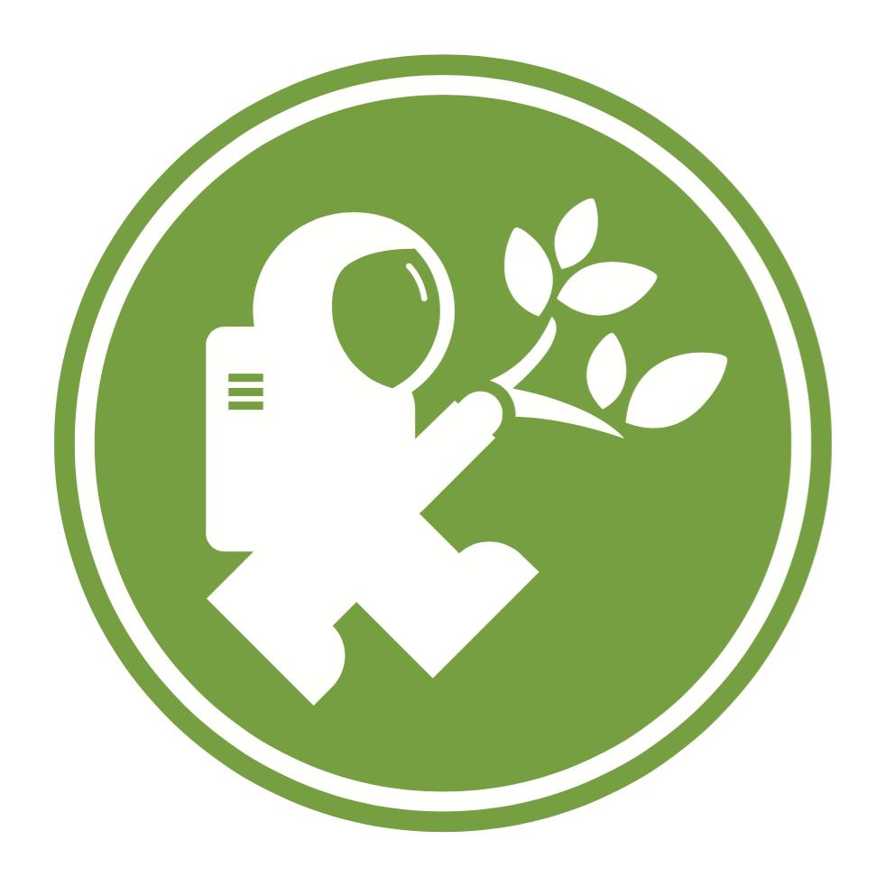 Логотип Eco-Action с изображением Discovery Астронавт-исследователь держит ветку листьев.