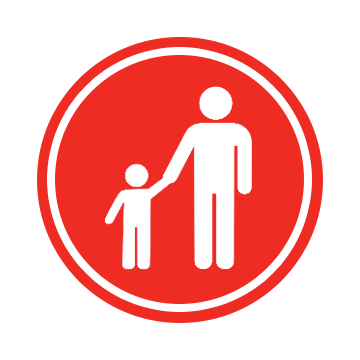 The Parent Academy logo, a red circle with an icon of an adult holding the hand of an icon of a child.