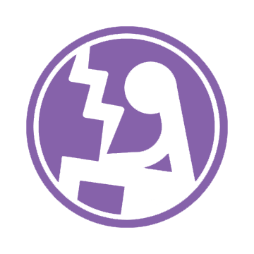 The Educational Technology Logo: A purple circle with a white stylized seated figure, holding what appears to be a white bolt of lightning.