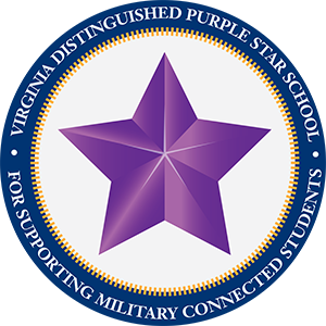 "A purple five-pointed star inside a navy blue ring, the ring containing text that says ""Virginia Distinguished Purple Star School, for supporting military connected students."""