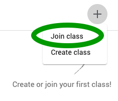 The Join Class button in Google Classroom