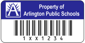 A sample of the APS inventory barcode sticker