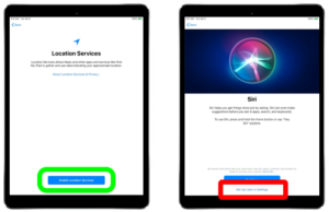 """On the right, a screen with a blue button, circled in green. On the right, the Siri screen, with """"set up later"""" circled in red."""