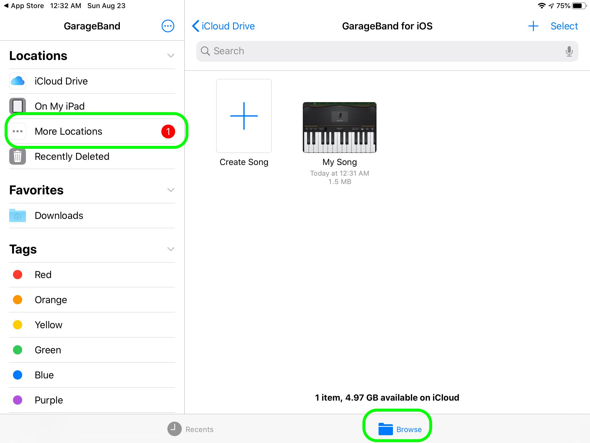 GarageBand Поделиться на Диске 1
