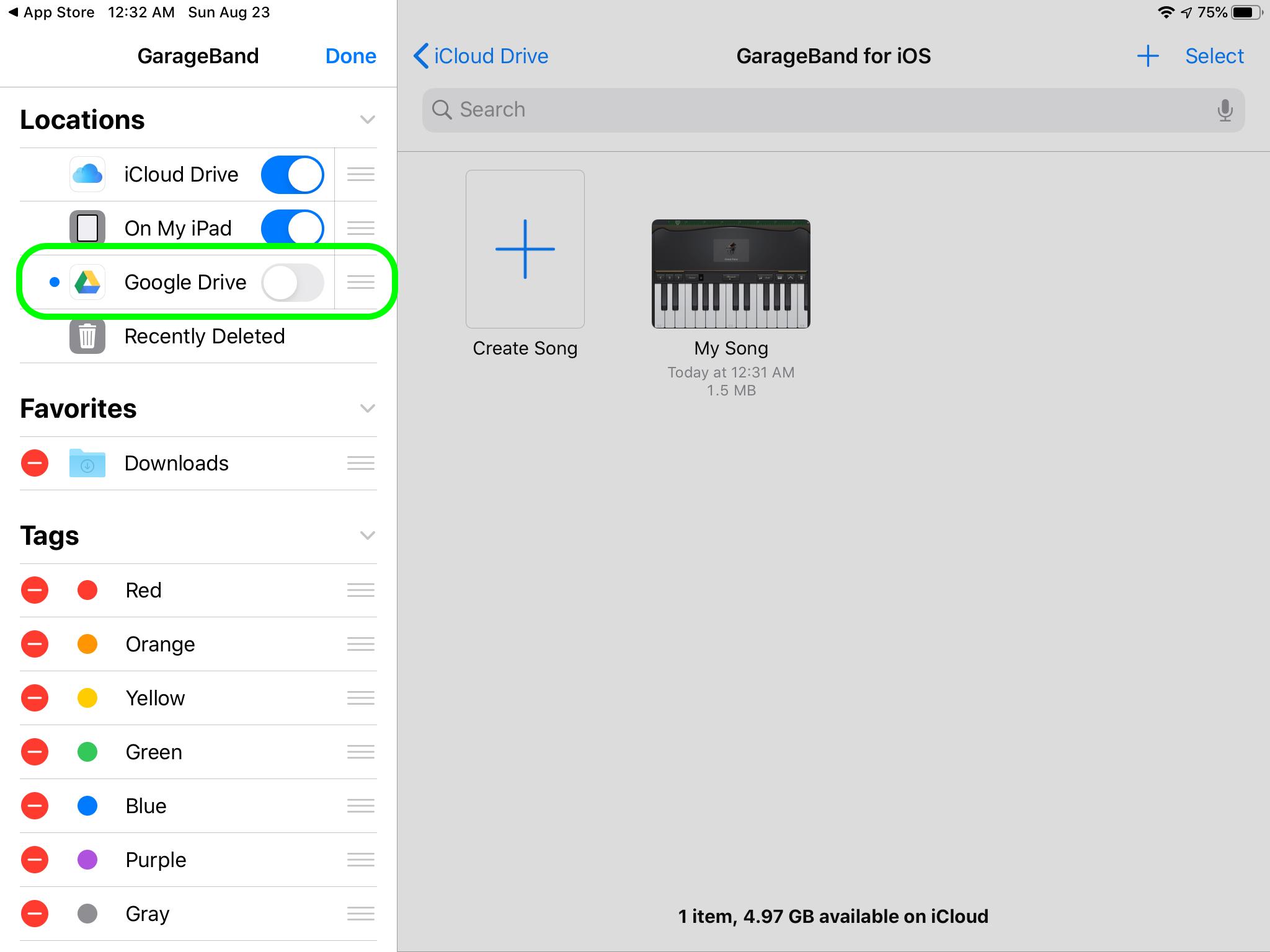 GarageBand Поделиться на Диске 2