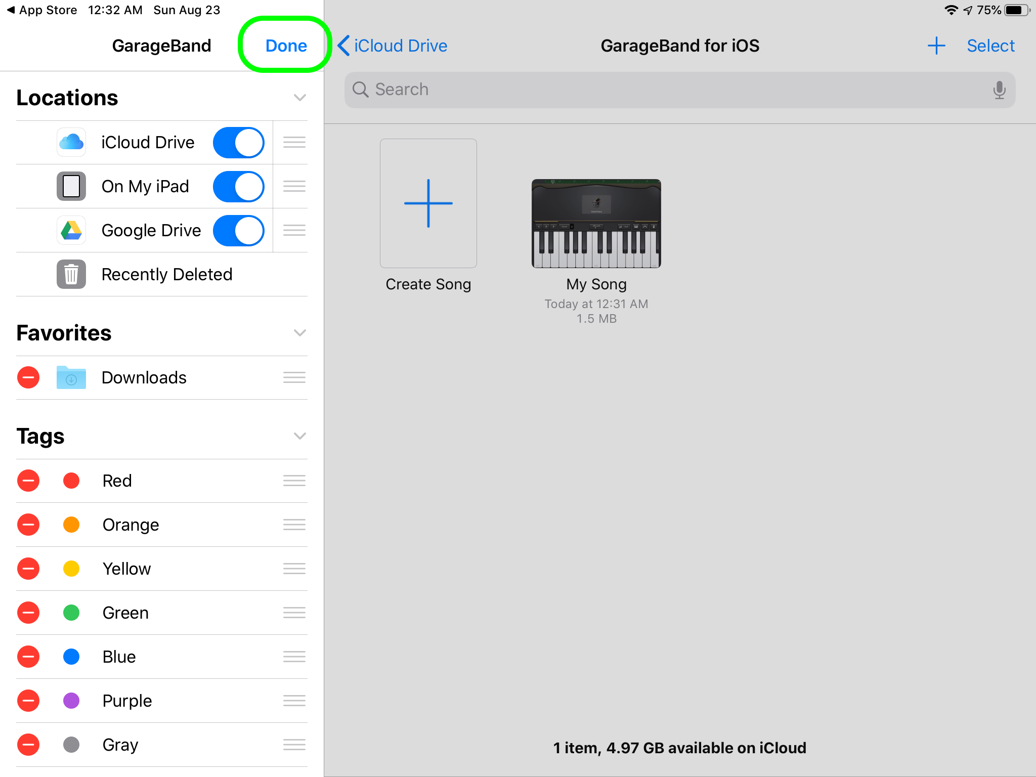 aGarageBand Share to Drive 3