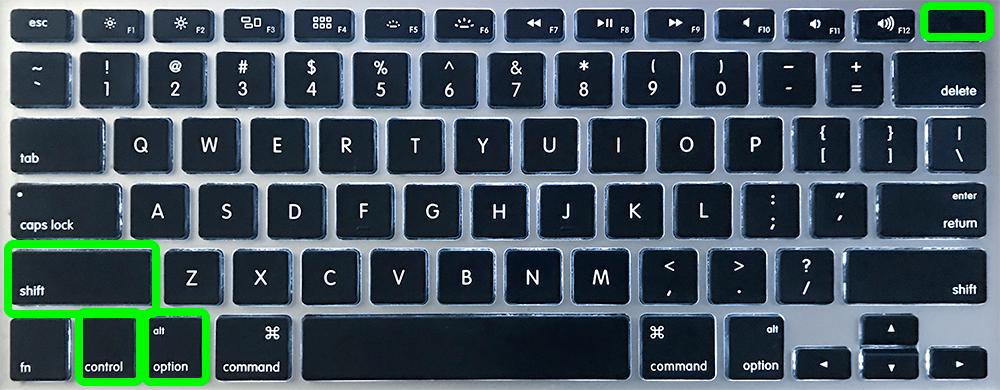 Un clavier MacBook avec Shift, Control, Option et Power encerclés.