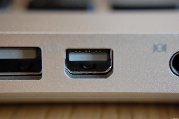 Le MiniDisplayPort d'un MacBook Air