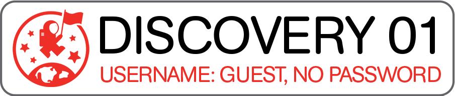 """Une étiquette à lire """"Discovery 01"""" et le nom d'utilisateur """"Invité"""" avec la phrase """"Pas de mot de passe""""."""